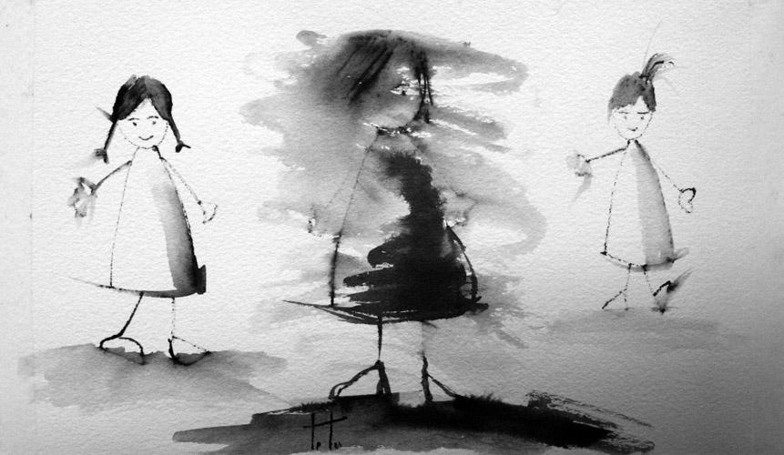 '1,2,3...pollito inglés'. Libro de artista, 2010. Dibujo. Tinta sobre papel, metacrilato y alambre.